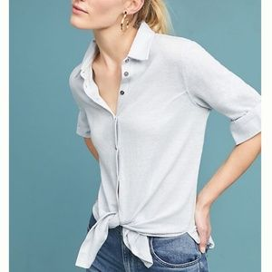 Maeve Marissa Knit Linen Blend Button Up Top
